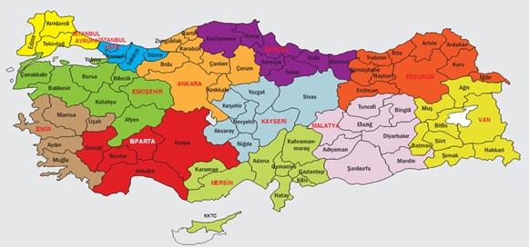 Turkiye Bolgeler Haritasi Bolumlu Turkiye Haritasi