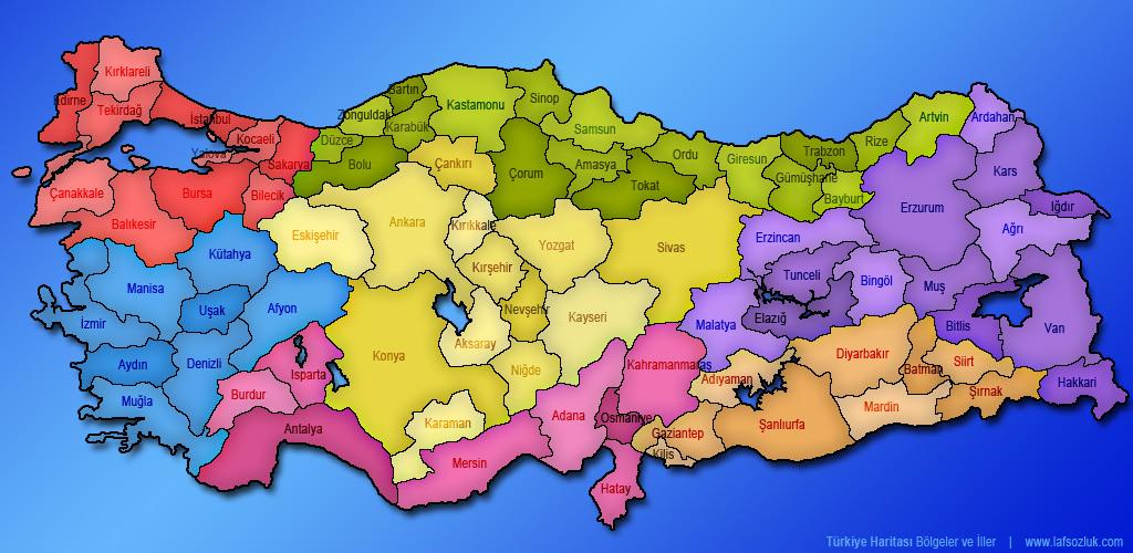 Türkiye Bölgeler Haritası Bölümlü Türkiye Haritası